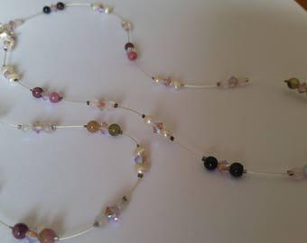 Handmade necklace and bracelet set with swarovski's  and pearls