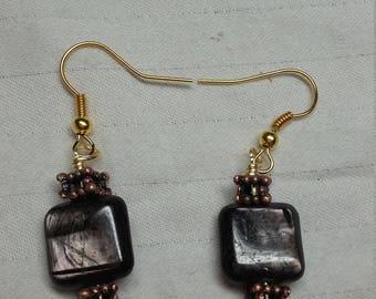 Rainbow Obsidian Copper Beads Gold Wire Earrings