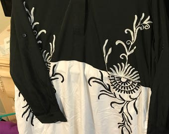 Black and white tunic.