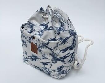 Blue Tie Dye Print On White Canvas Bucket Bag