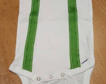 24 month onesie boys green bow tie and suspenders