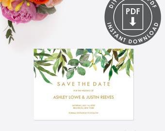 Printable Save The Date | Instant Download Wedding STD | Editable Save the Date Template | Botanical STD | Editable Diy PDF | 004