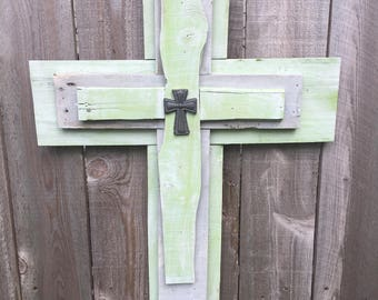 Green and gray rustic cross wall hanging