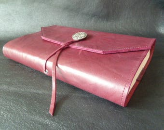 "Height 20 cm book, book adaptable cowhide leather ""Plum-Burgundy""link and slider closure"