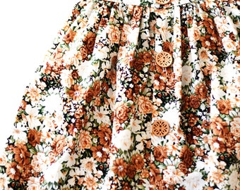Vintage Floral Girls Kids Childrens Long Maxi Skirt with Buttons