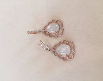 Silver Gold Plated White Moonstone and CZ