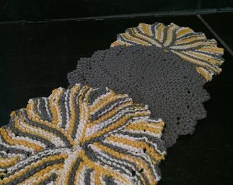 Knit cotton washcloth/ set of 3