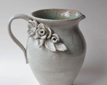 Ceramic Hand built Flower Pitcher
