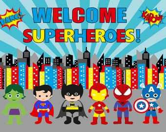 Superhero wallpaper/backdrop printable/superhero decoration/superhero party supplies/super hero theme/super hero birthday decoration,