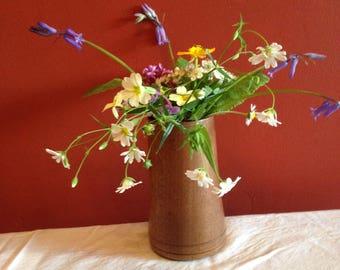 Small Teak vase with glass insert