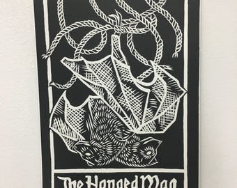Tarot Card Lino Print - The Hanged Man