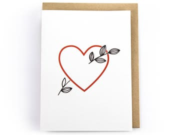 Heart with Leaves // Valentine's Day //Anniversary Card // Love and Wedding Day Card // Letterpress Card // Stationery and Greeting Cards