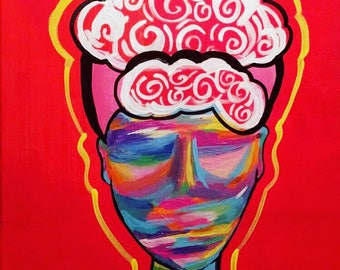 """Raw Emotions, Original acrylic painting by E. Puckett Art, 16x20"""" Canvas, Colorful Fine Art, Afro Art"""