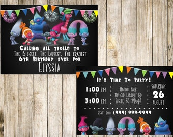 Trolls Birthday Invitation, Front And Back