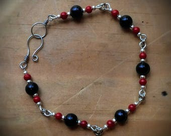 Silver and Faux Pearl Bracelet