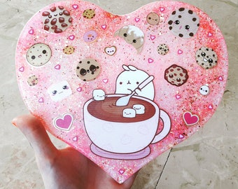 Creating large resin heart with Molang Kawaii Stickers with cookies, marshmallows, decorations and Glitter. HANDMADE