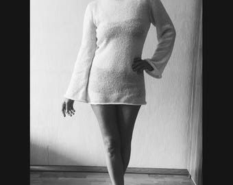 Knitted soft mohair spring autumn  sweater tunic white  Made to order