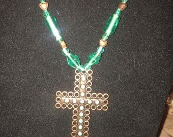 Green copper cross pendant necklace and earrings