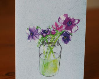 Flowers in a Glass Jar Illustrated Card