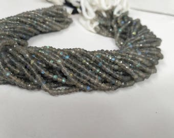 Natural Labradorite Faceted Beads 3-3.5mm or 3.5-4mm   Labradorite faceted   Labradorite Rondelle Beads   Fire Beads stone   Blue fire stone
