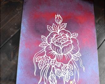 Rose Spray-painted Screen Printed Original Artwork