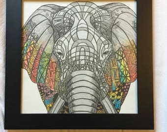 Patterned Elephant Colored Pencil Drawing