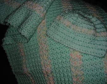 Mint Green Crocheted Baby Blanket and Hat set