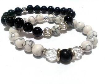 Onyx and Howlite Couples His and Hers Beaded Bracelet Stretch Bracelet Charm Bracelet Crystal Bracelets