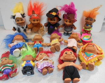 RUSS Vintage Troll Doll Set of 14 Characters RARE Mostly 5""