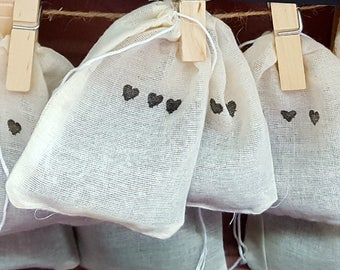 Lavender Sachets with Triple Heart Design