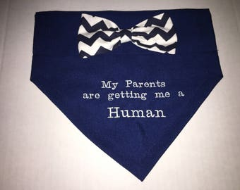 Reveal Gender, Dog Bandana, My Parents are getting me a Human, Bow, New Baby,  Dog Lovers Gift,  Baby Announcement, Baby Gift, Photo Shot