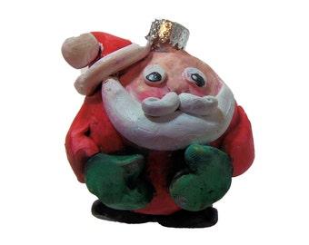 Polymer Clay Santa Christmas Ball - Oil Painted Santa Christmas Ornament - Polymer Clay Covered Glass Ball