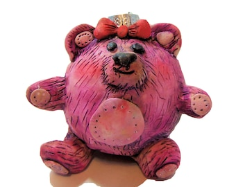 Pink Teddy Bear Christmas Ball - Oil Painted Teddy BEar Christmas Ornament - Polymer Clay Covered Glass Ball