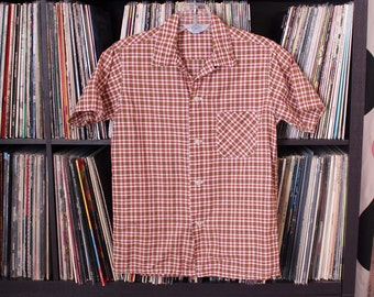50s 60s vintage boys cotton shirt by penney's . short sleeve plaid shirt, red and tan plaid . tag size 14 - SEE EMASUREMENTS
