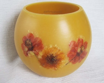 Orange Flowers, Beeswax Lantern,Bees wax Bowl,Gift for Her,Inspired by Nature,Colorado Gifts, Unique Beeswax Candles, Summer Flower Gift