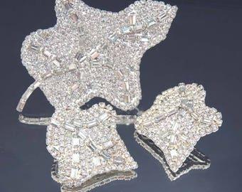 LES BERNARD Rhinestone Leaf Earrings Set / Les Bernard Brooch and Earrings Set / Vintage Les Bernard Brooch Set / Les Bernard Jewelry