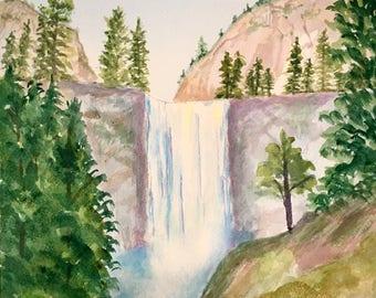 Waterfall Original Watercolor
