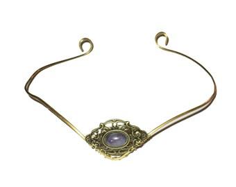 Brass elfish tiara circlet with amethyst