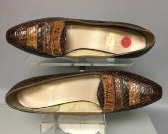 Vintage 60's Genuine SNAKESKIN Heels, 1960's LOAFER Style Snake Skin Shoes, size 7 aaaa