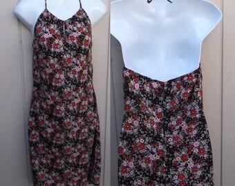 Vintage 1990s Flower Print SunDress / Floral Dress / Sz Sml - Med