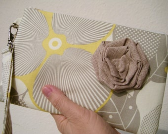 Wedding Clutch 2 pockets,medium,yellow,grey,discount plan set, wristlet, cotton - Optic Blossom in Linen