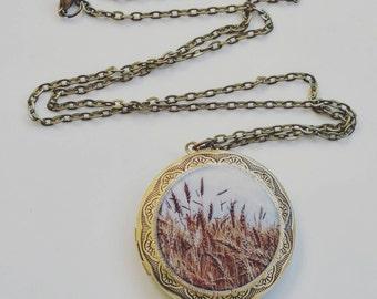 Wandering in the Wheatfields of   Saskatchewan Locket Necklace