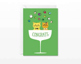 Congratulations Mini Card - Gift Enclosure Card - Retro Champagne Congrats Cats - Wedding, Engagement Card
