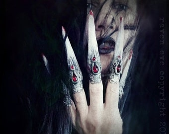 SUPER SALE Vampyre Claw Rings Sculpted Horror Costume Nail Tips with vintage glass stones 5 Ring set Made To Order Gothic Vampire Style