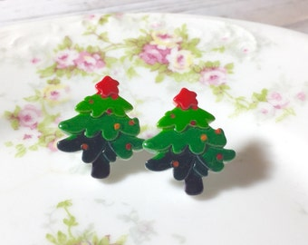 Christmas Tree Studs, Festive Xmas Tree Earrings, Christmas Earrings, Colorful Christmas Tree Studs with Red Star on Top, Holiday Stud (SE8)