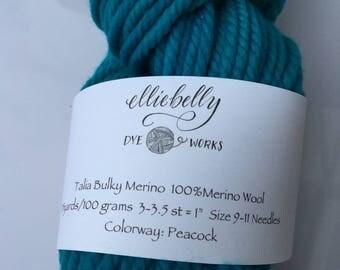 "Elliebelly Talia Bulky Merino Yarn - ""Peacock"""