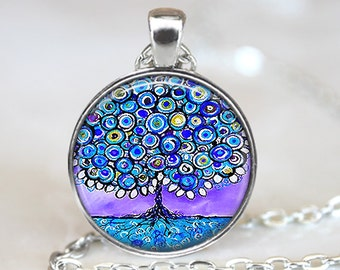 Whimsical Tree Pendant, Blue Tree Art Pendant, Whimsical Tree Necklace, Whimsical Tree Art, Bronze, Silver, Tree Jewelry, Tree Painting, 160