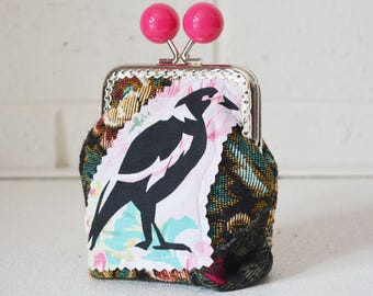 Money purse with Black Magpie screen print applique. Change Credit Card holder. Large Candy Bead metal frame clasp.
