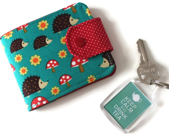 Womens Wallet / Ultra Thin Minimalist Vegan Wallet / with Flap and Change Pocket in Teal Hedgehogs