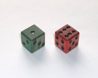Wooden Dice - Imperfect Red & Green Pair #2